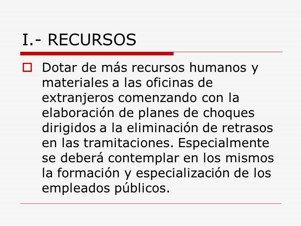 I.- RECURSOS Dotar de más recursos humanos y materiales a las oficinas de extranjeros comenzando con la elaboración de planes de choques dirigidos a la eliminación de retrasos en las tramitaciones.