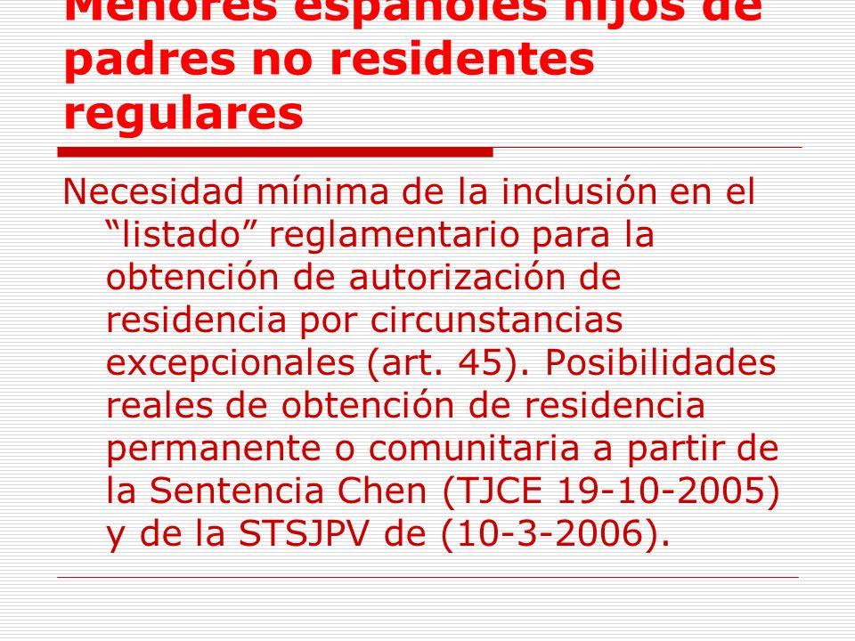 Menores españoles hijos de padres no residentes regulares Necesidad mínima de la inclusión en el listado reglamentario para la obtención de autorización de residencia por circunstancias excepcionales (art.