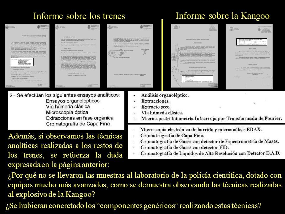 Informe sobre los trenes Informe sobre la Kangoo ¿Por qué se analizaron las muestras recogidas en los trenes en el laboratorio de la UCDE (Unidad de C