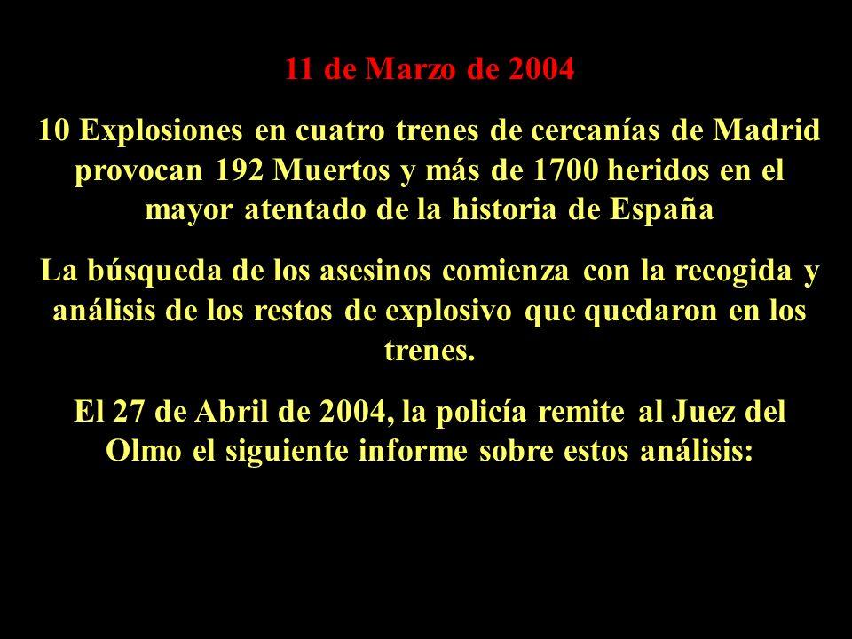 11 de Marzo de 2004 10 Explosiones en cuatro trenes de cercanías de Madrid provocan 192 Muertos y más de 1700 heridos en el mayor atentado de la historia de España La búsqueda de los asesinos comienza con la recogida y análisis de los restos de explosivo que quedaron en los trenes.