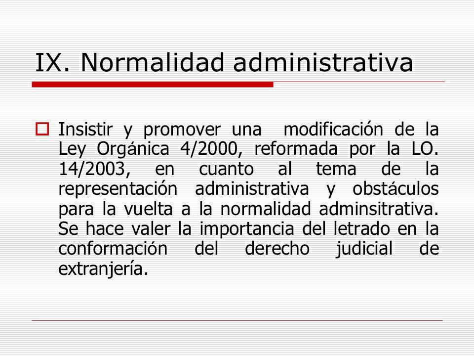 IX. Normalidad administrativa Insistir y promover una modificación de la Ley Org á nica 4/2000, reformada por la LO. 14/2003, en cuanto al tema de la