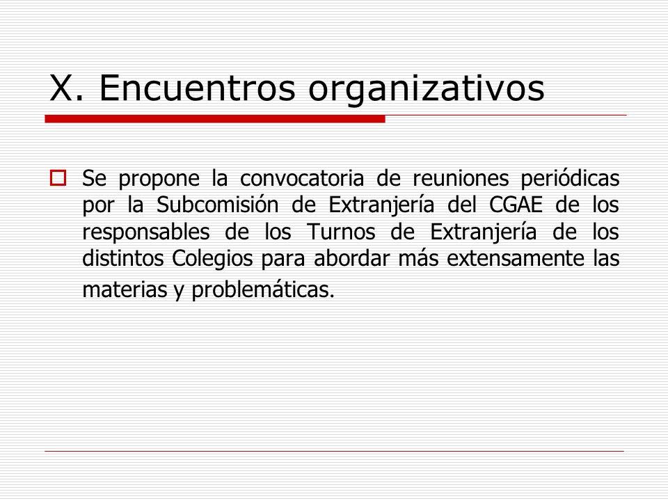 X. Encuentros organizativos Se propone la convocatoria de reuniones periódicas por la Subcomisión de Extranjería del CGAE de los responsables de los T