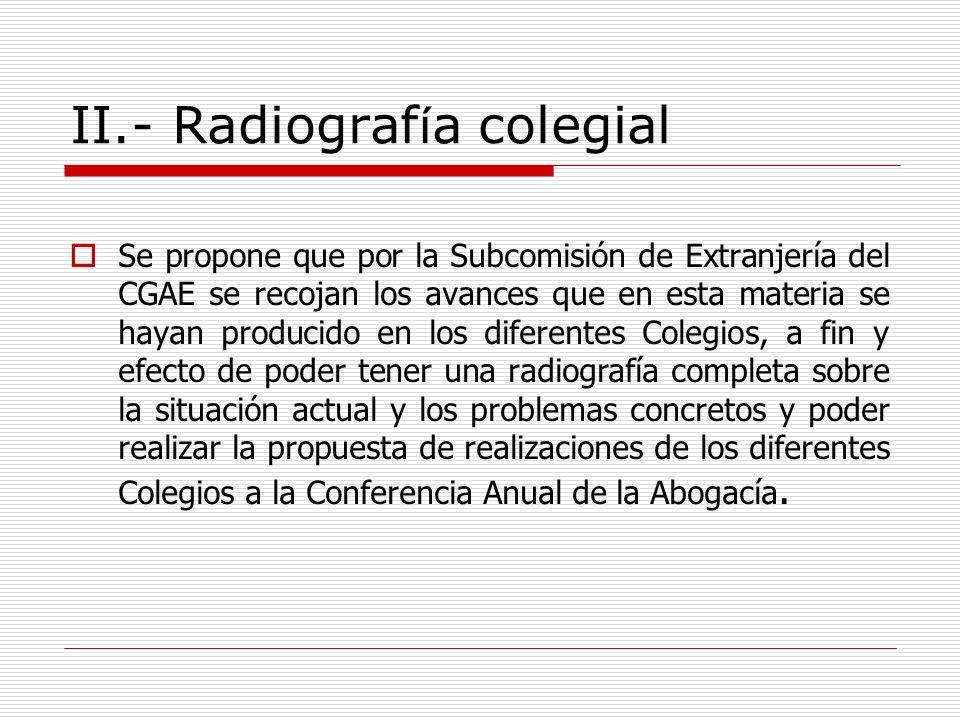 II.- Radiograf í a colegial Se propone que por la Subcomisión de Extranjería del CGAE se recojan los avances que en esta materia se hayan producido en
