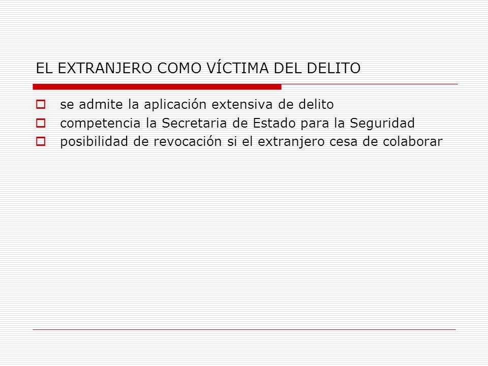 EL EXTRANJERO COMO VÍCTIMA DEL DELITO se admite la aplicación extensiva de delito competencia la Secretaria de Estado para la Seguridad posibilidad de revocación si el extranjero cesa de colaborar