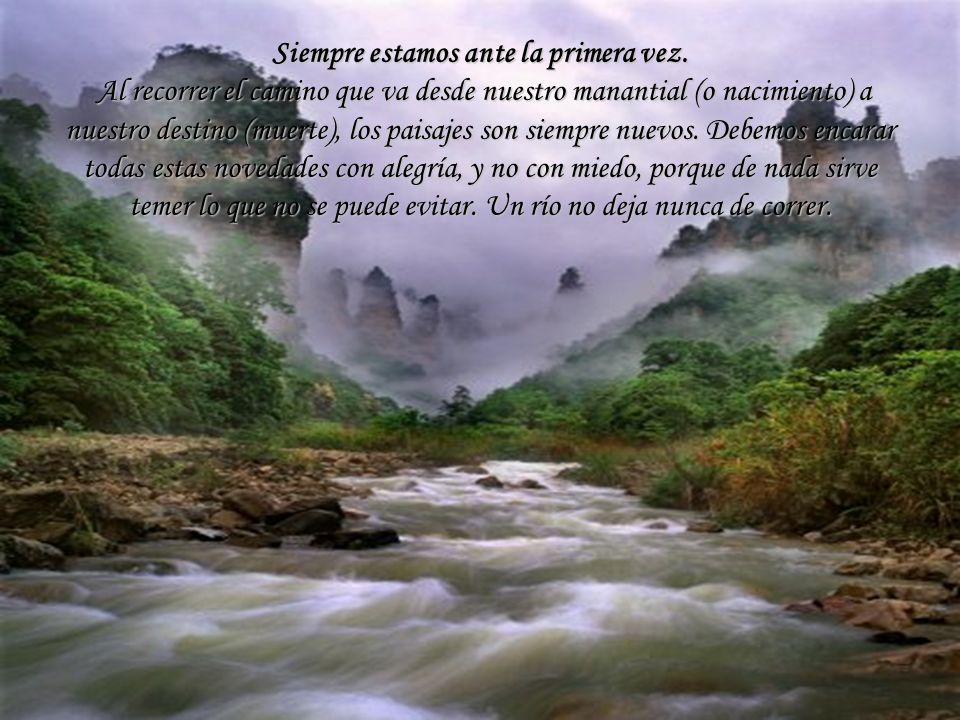 Y si los cielos se cubren de nubes, Como el río, las nubes son agua, Reflejarlas también sin amargura En las profundidades tranquilas.