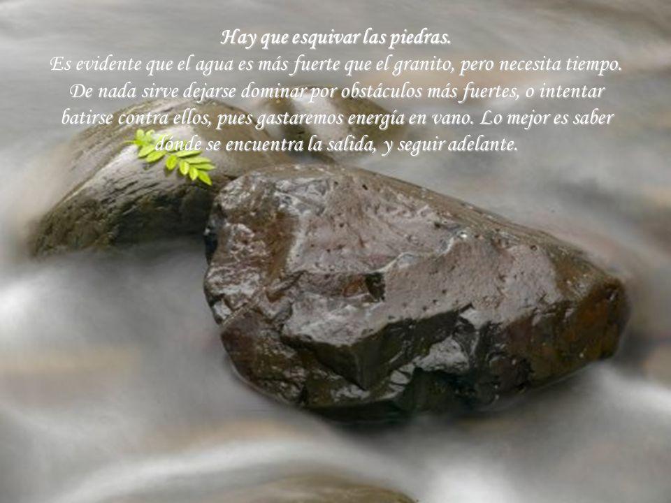 Hay que esquivar las piedras. Es evidente que el agua es más fuerte que el granito, pero necesita tiempo. De nada sirve dejarse dominar por obstáculos
