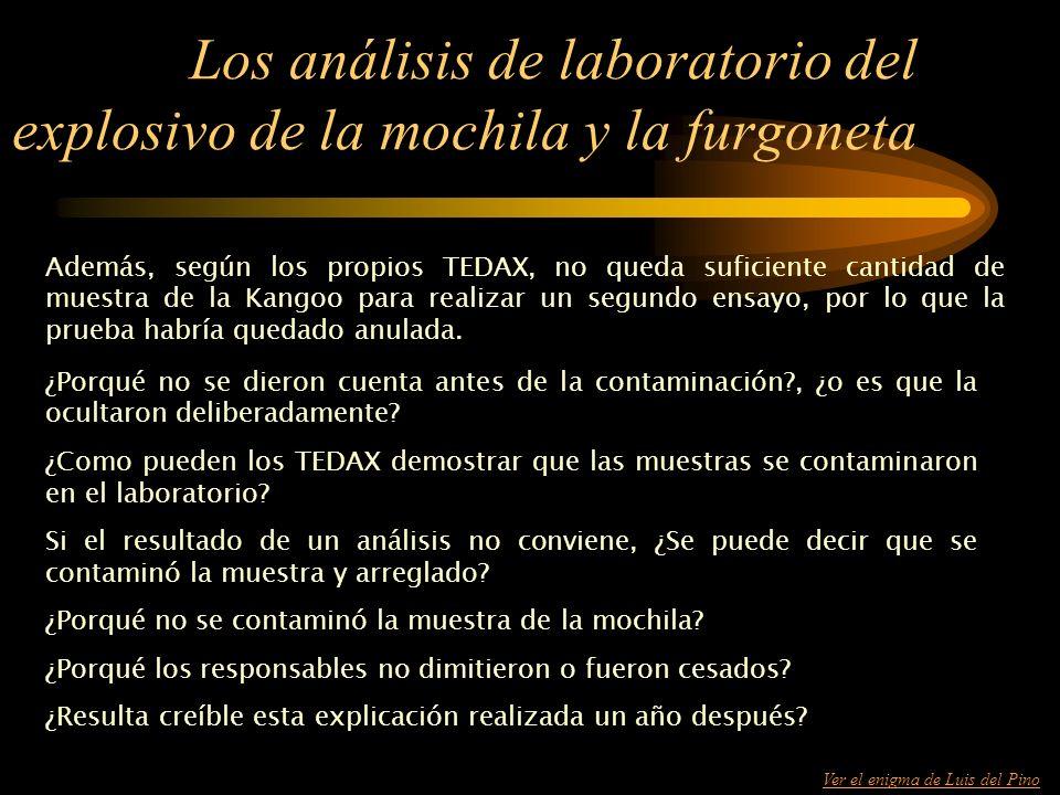 Los análisis de laboratorio del explosivo de la mochila y la furgoneta
