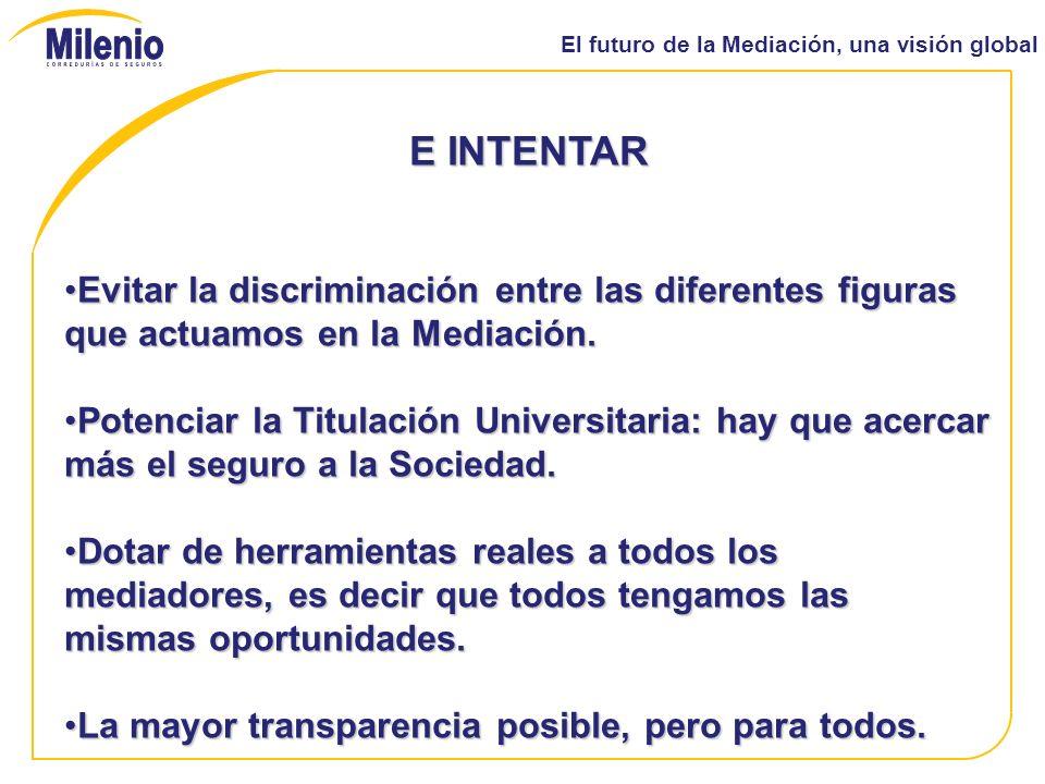 El futuro de la Mediación, una visión global E INTENTAR Evitar la discriminación entre las diferentes figuras que actuamos en la Mediación.Evitar la discriminación entre las diferentes figuras que actuamos en la Mediación.