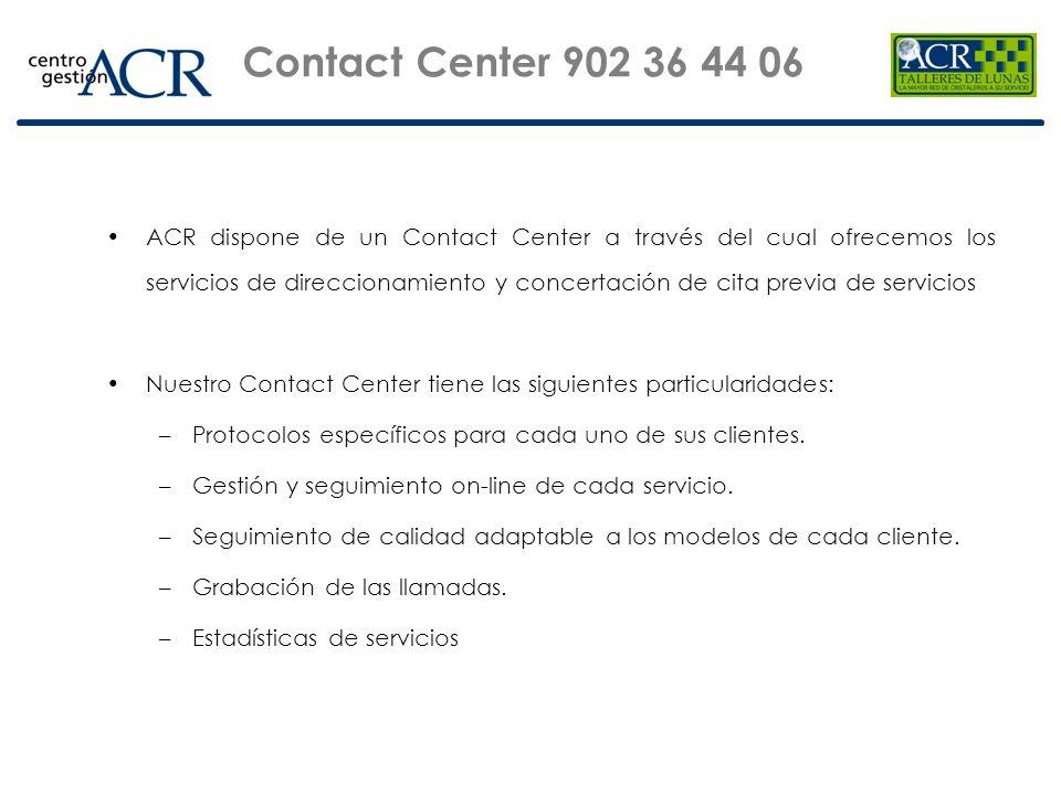ACR dispone de un Contact Center a través del cual ofrecemos los servicios de direccionamiento y concertación de cita previa de servicios Nuestro Cont