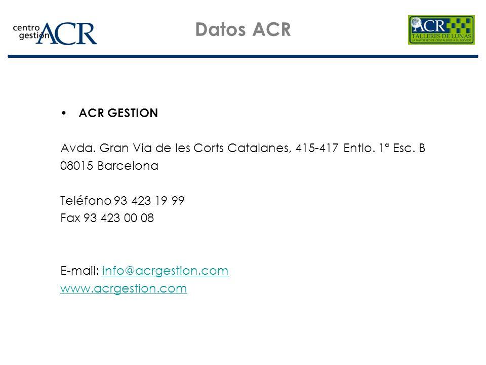 Datos ACR ACR GESTION Avda. Gran Via de les Corts Catalanes, 415-417 Entlo. 1ª Esc. B 08015 Barcelona Teléfono 93 423 19 99 Fax 93 423 00 08 E-mail: i