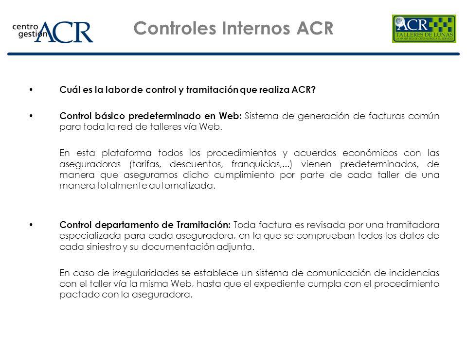 Controles Internos ACR Control departamento de Peritación: Realizamos un control diario de precios de una muestra de los siniestros según unos criterios establecidos, intensificando unos parámetros u otros según convenga.