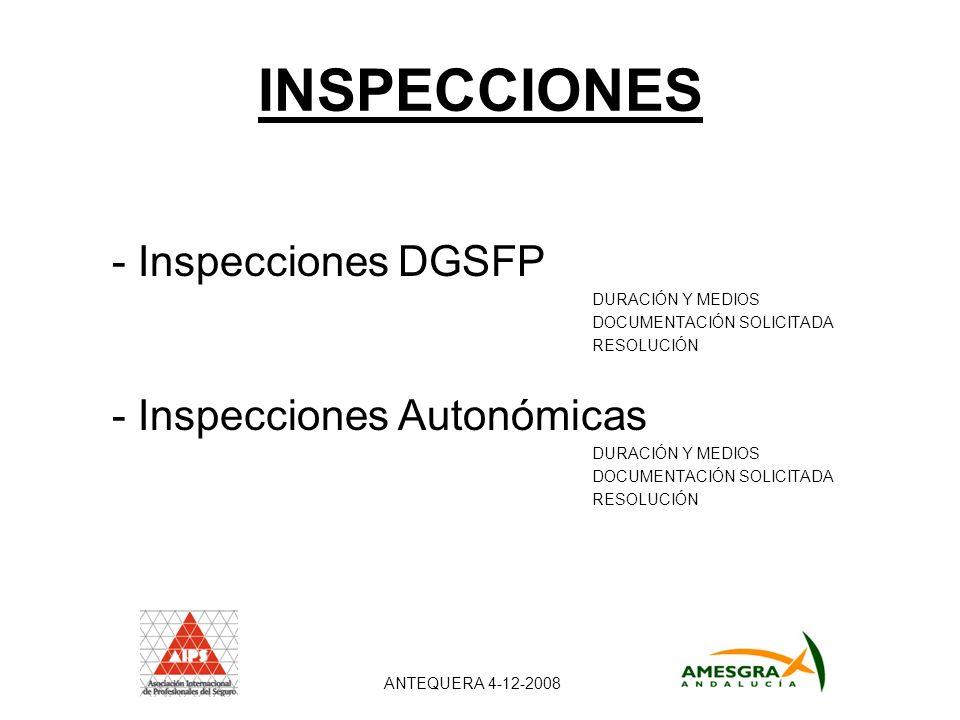 INSPECCIONES - Inspecciones DGSFP DURACIÓN Y MEDIOS DOCUMENTACIÓN SOLICITADA RESOLUCIÓN - Inspecciones Autonómicas DURACIÓN Y MEDIOS DOCUMENTACIÓN SOLICITADA RESOLUCIÓN ANTEQUERA 4-12-2008