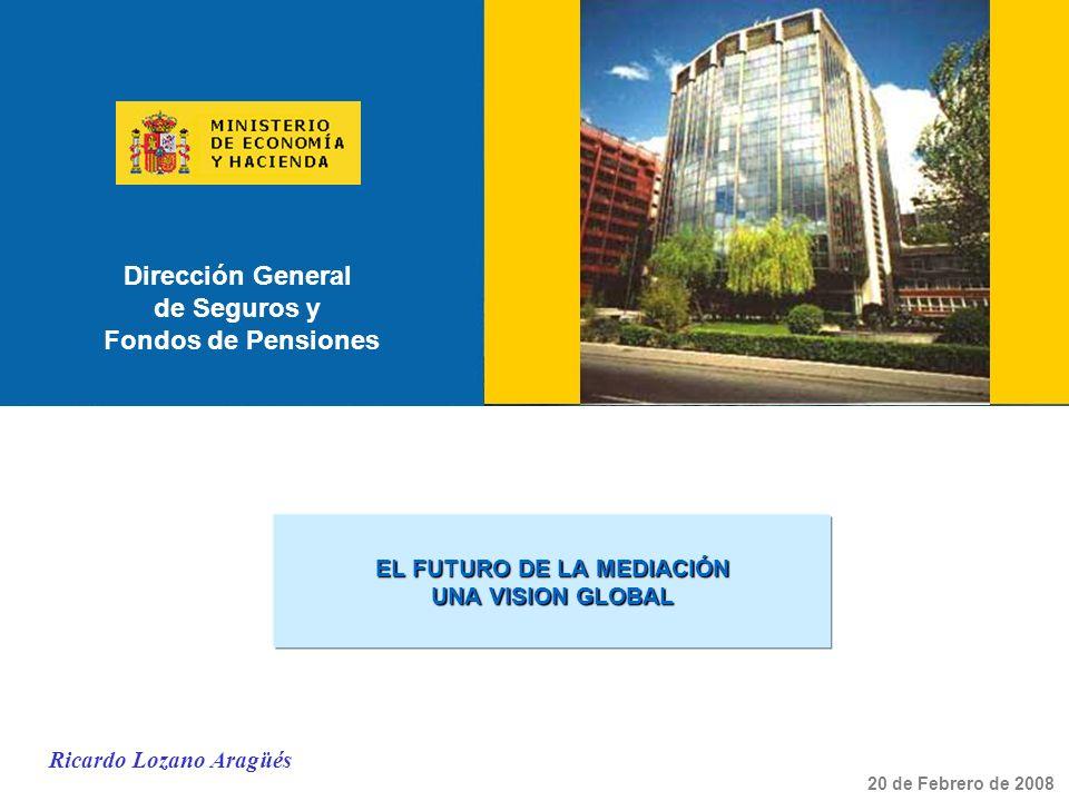 Dirección General de Seguros y Fondos de Pensiones EL FUTURO DE LA MEDIACIÓN UNA VISION GLOBAL 20 de Febrero de 2008 Ricardo Lozano Aragüés
