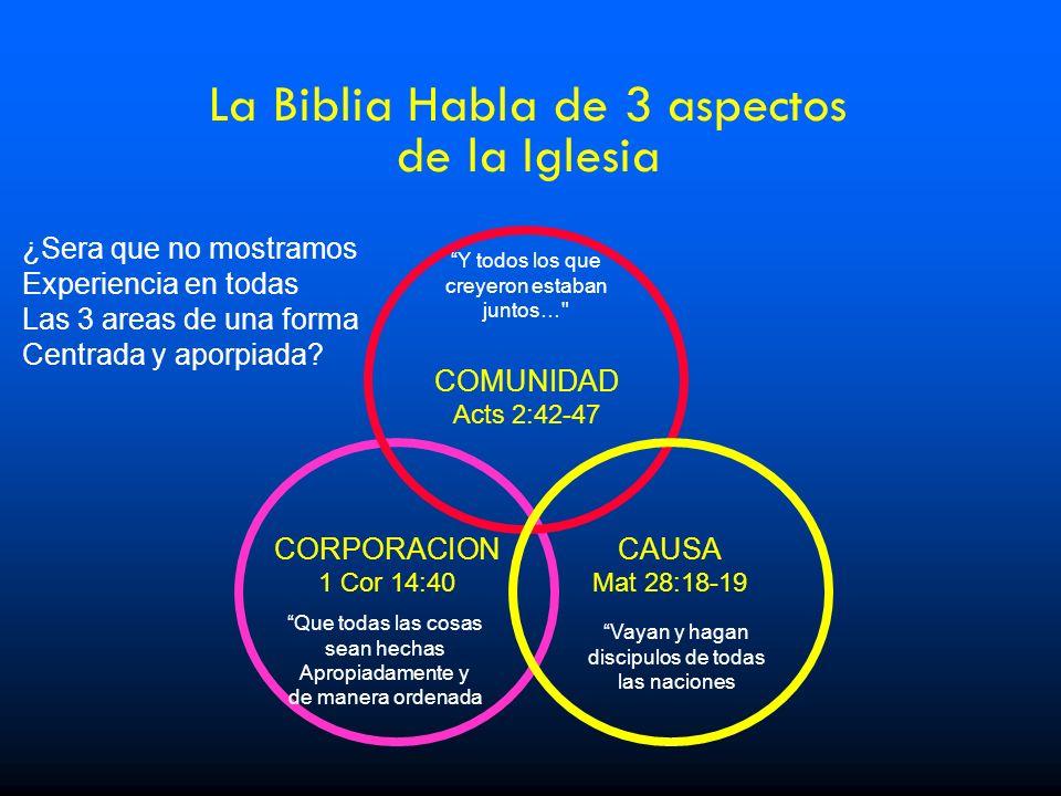 La Biblia Habla de 3 aspectos de la Iglesia ¿Sera que no mostramos Experiencia en todas Las 3 areas de una forma Centrada y aporpiada? CORPORACION 1 C
