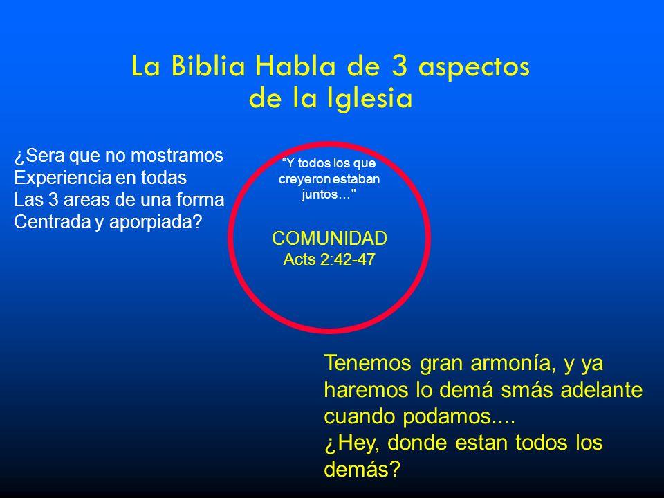La Biblia Habla de 3 aspectos de la Iglesia Tenemos gran armonía, y ya haremos lo demá smás adelante cuando podamos.... ¿Hey, donde estan todos los de