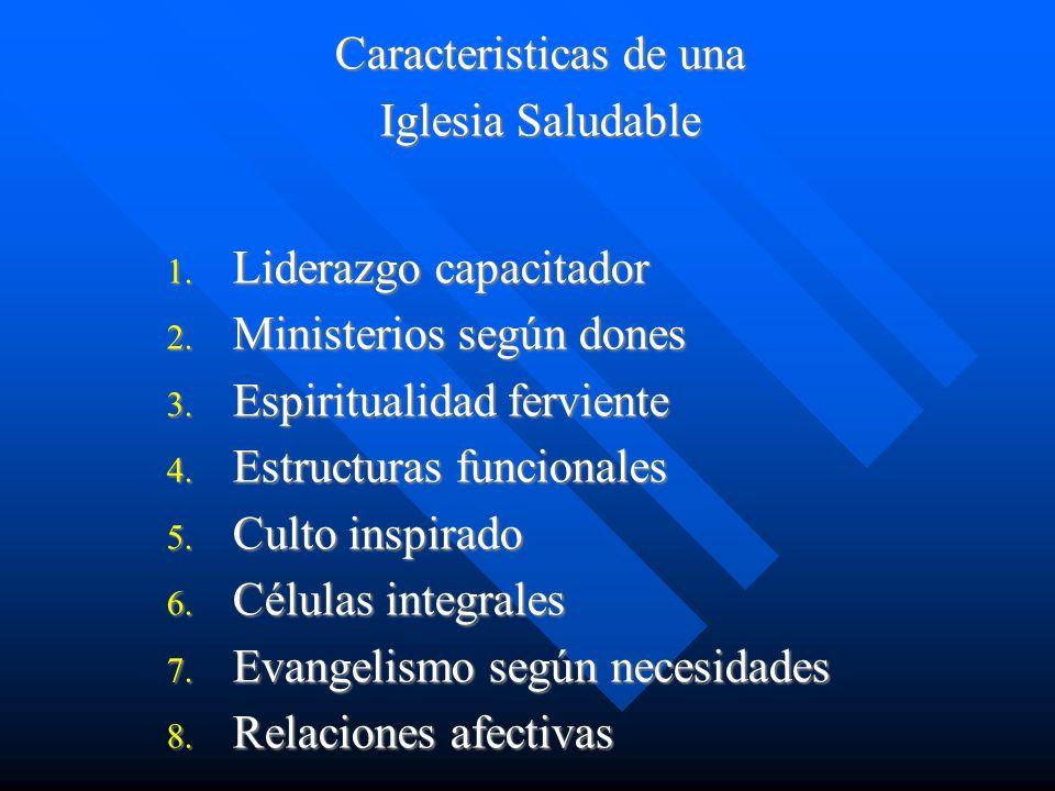 Caracteristicas de una Iglesia Saludable 1. Liderazgo capacitador 2. Ministerios según dones 3. Espiritualidad ferviente 4. Estructuras funcionales 5.