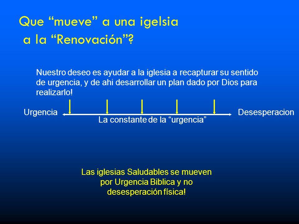 Que mueve a una igelsia a la Renovación? La constante de la urgencia UrgenciaDesesperacion Las iglesias Saludables se mueven por Urgencia Biblica y no