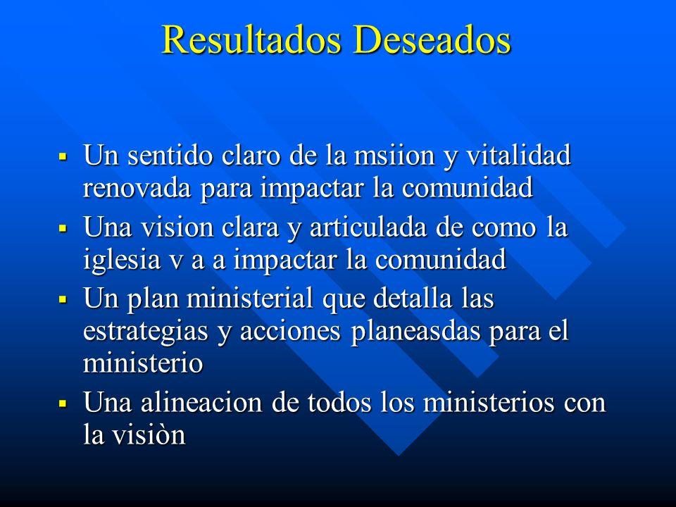 Resultados Deseados Un sentido claro de la msiion y vitalidad renovada para impactar la comunidad Un sentido claro de la msiion y vitalidad renovada p