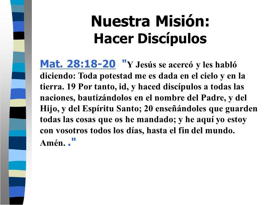 Nuestra Misión: Hacer Discípulos Mat. 28:18-20