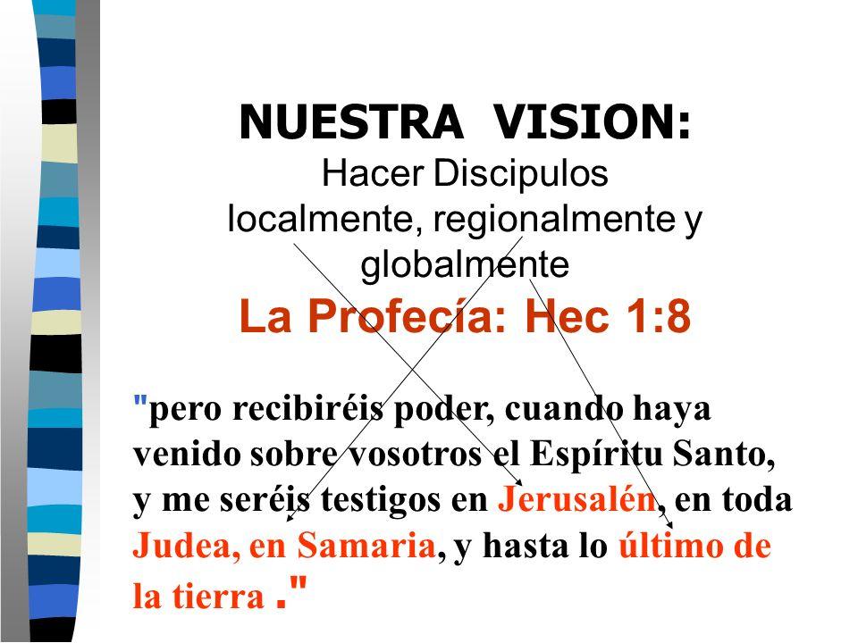 NUESTRA VISION: Hacer Discipulos localmente, regionalmente y globalmente La Profecía: Hec 1:8