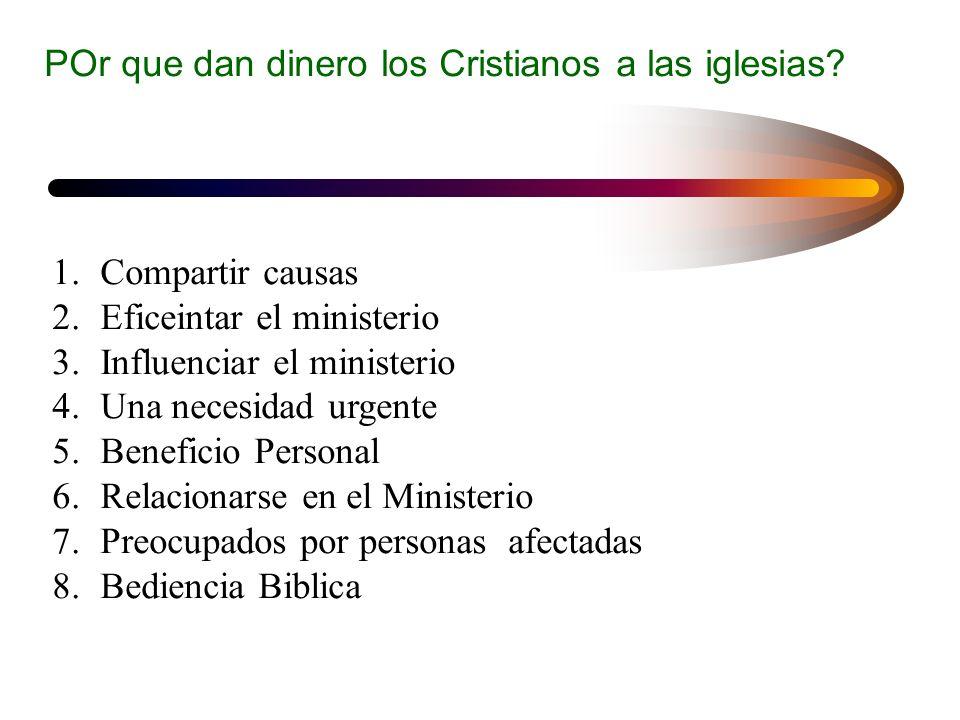 POr que dan dinero los Cristianos a las iglesias? 1.Compartir causas 2.Eficeintar el ministerio 3.Influenciar el ministerio 4.Una necesidad urgente 5.