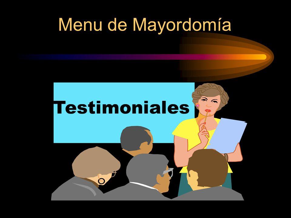 Menu de Mayordomía Testimoniales