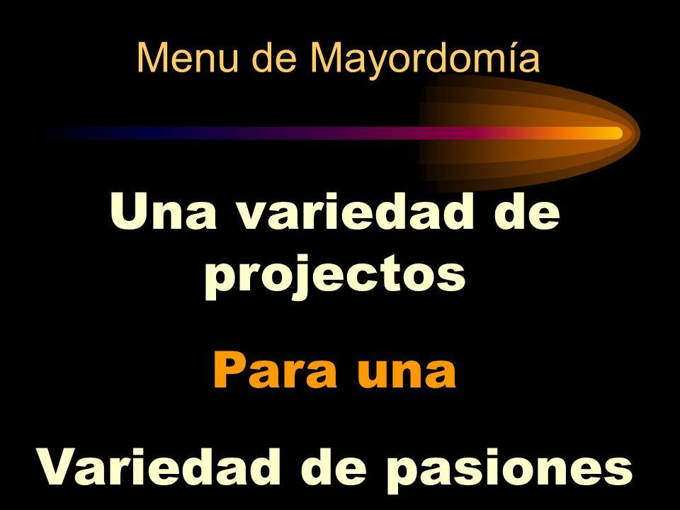 Menu de Mayordomía Una variedad de projectos Para una Variedad de pasiones