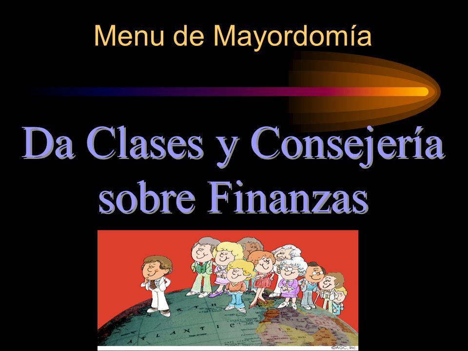 Menu de Mayordomía Da Clases y Consejería sobre Finanzas