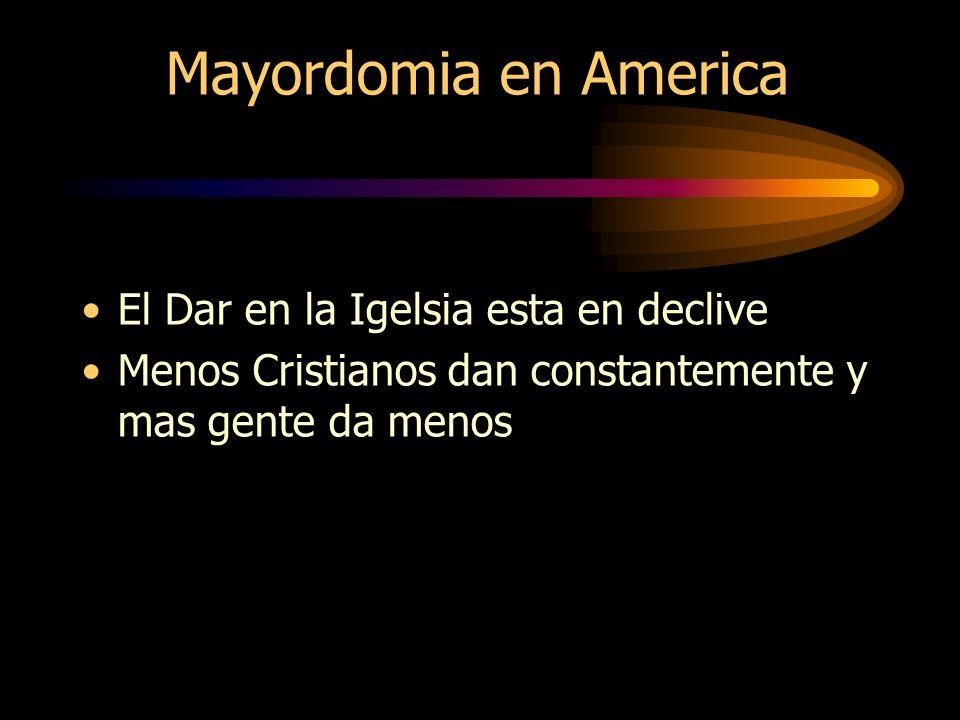 Mayordomia en America El Dar en la Igelsia esta en declive Menos Cristianos dan constantemente y mas gente da menos