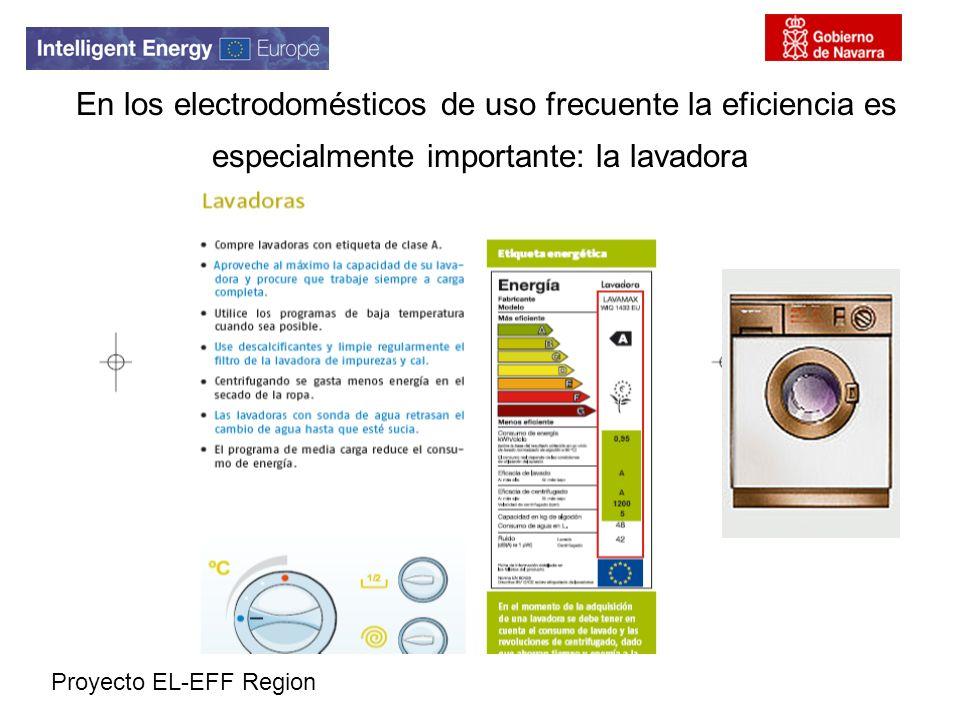 Proyecto EL-EFF Region En los electrodomésticos de uso frecuente la eficiencia es especialmente importante: la lavadora