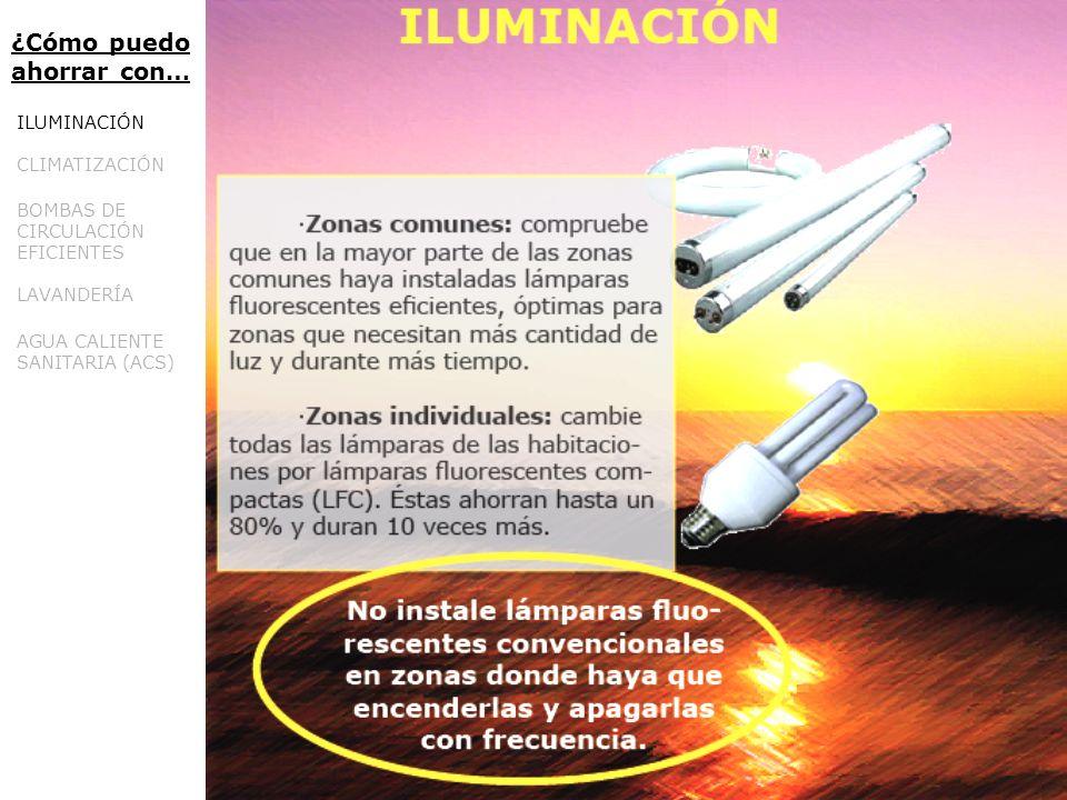 ¿Cómo puedo ahorrar con… ILUMINACIÓN CLIMATIZACIÓN BOMBAS DE CIRCULACIÓN EFICIENTES LAVANDERÍA AGUA CALIENTE SANITARIA (ACS)