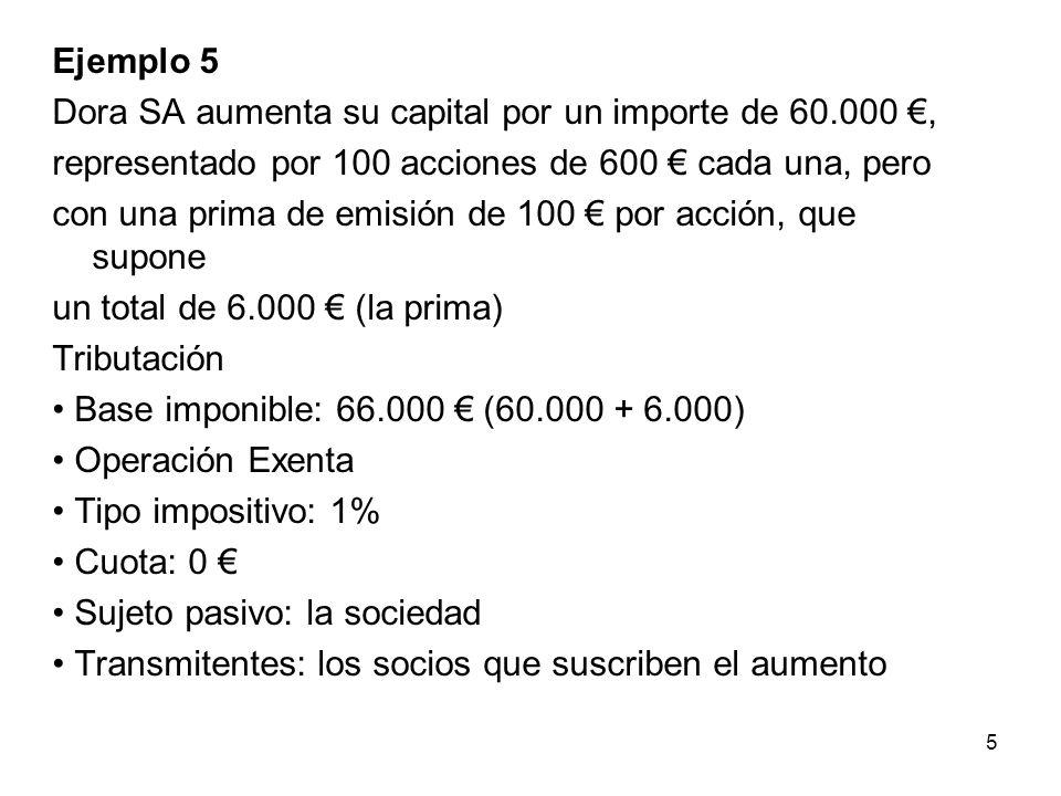 Ejemplo 6 Disolución con liquidación de la sociedad Alfa, en la que el importe a distribuir entre los 3 socios es de 3.000 por socio.