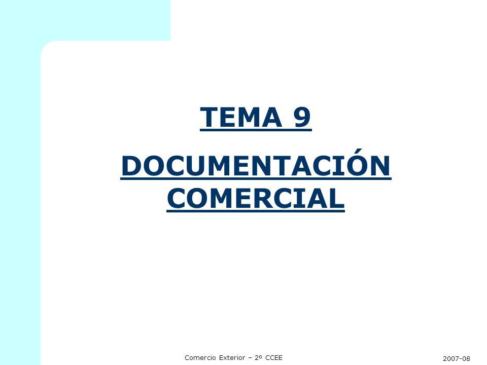 2007-08 Comercio Exterior – 2º CCEE TEMA 9: DOCUMENTACION COMERCIAL 1.INTRODUCCION.
