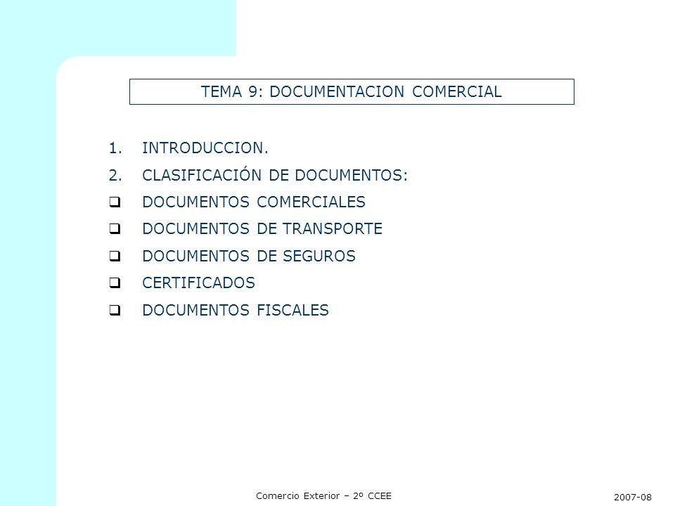 2007-08 Comercio Exterior – 2º CCEE TEMA 9: DOCUMENTACION COMERCIAL 1.INTRODUCCION. 2.CLASIFICACIÓN DE DOCUMENTOS: DOCUMENTOS COMERCIALES DOCUMENTOS D