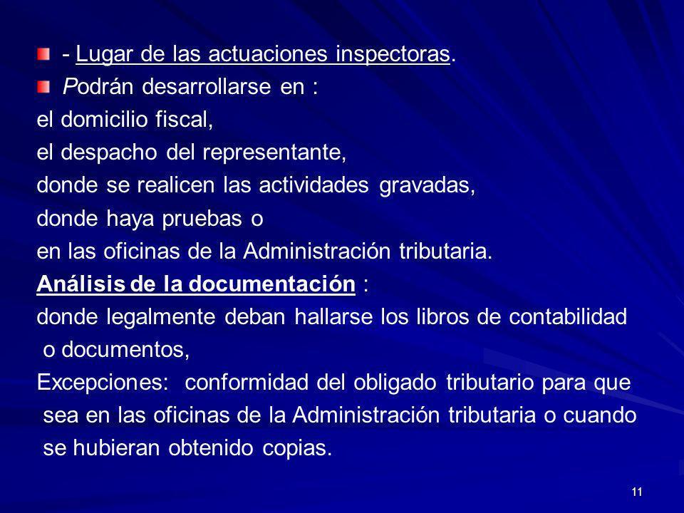 11 - Lugar de las actuaciones inspectoras. Podrán desarrollarse en : el domicilio fiscal, el despacho del representante, donde se realicen las activid
