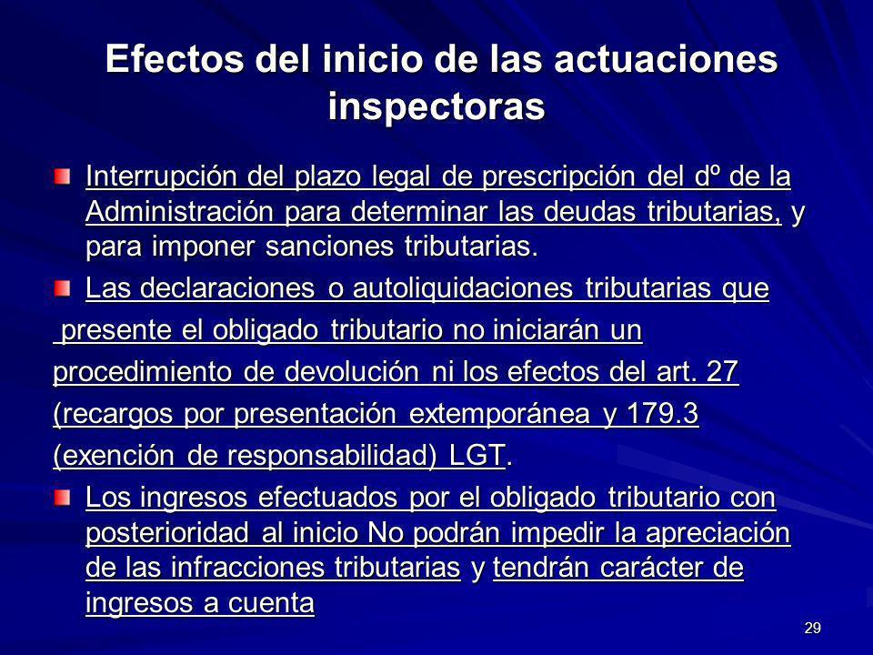 29 Efectos del inicio de las actuaciones inspectoras Efectos del inicio de las actuaciones inspectoras Interrupción del plazo legal de prescripción de