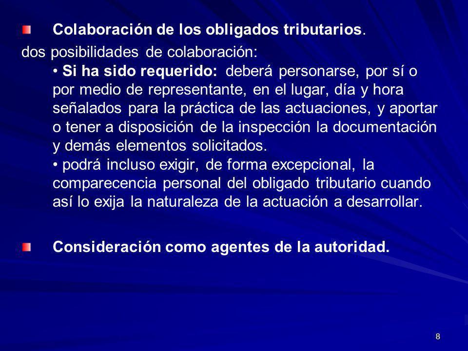 8 Colaboración de los obligados tributarios. dos posibilidades de colaboración: Si ha sido requerido: deberá personarse, por sí o por medio de represe