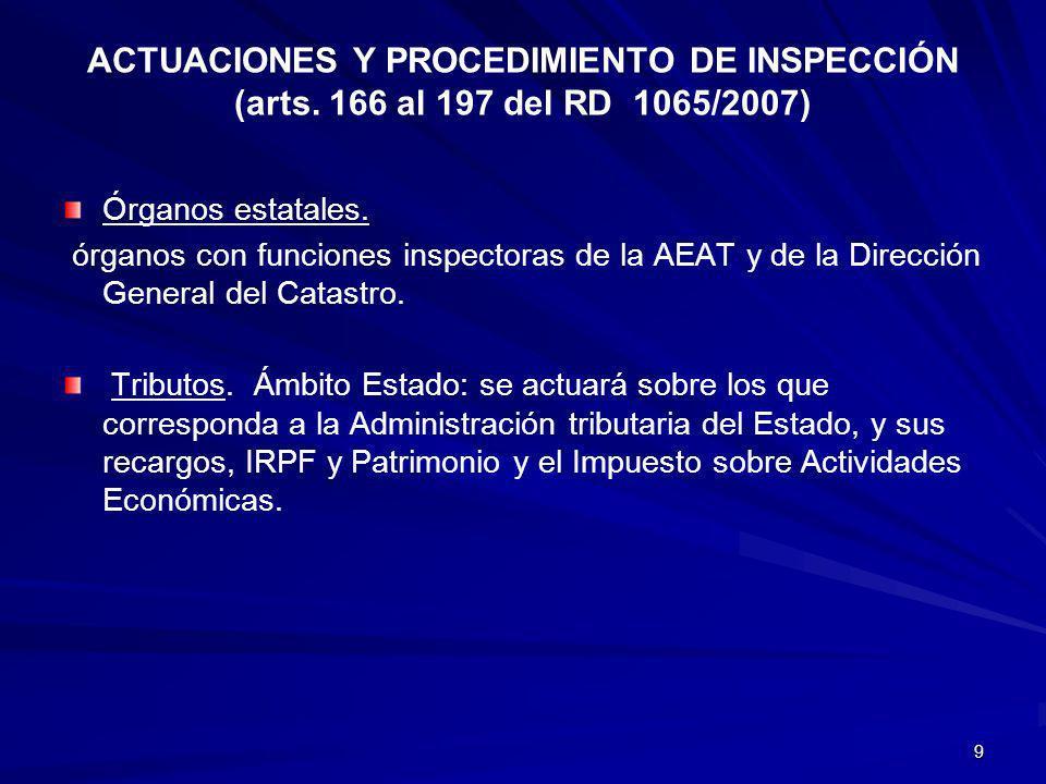 9 ACTUACIONES Y PROCEDIMIENTO DE INSPECCIÓN (arts. 166 al 197 del RD 1065/2007) Órganos estatales. órganos con funciones inspectoras de la AEAT y de l