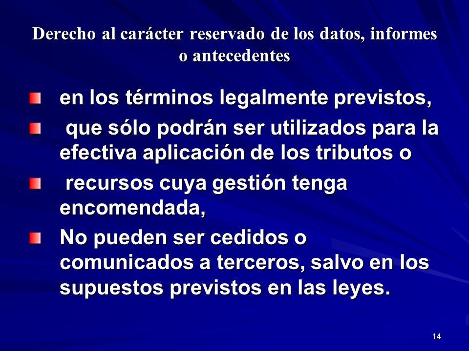 14 Derecho al carácter reservado de los datos, informes o antecedentes en los términos legalmente previstos, que sólo podrán ser utilizados para la ef
