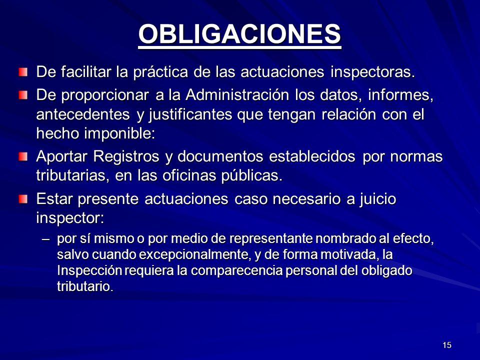 15 OBLIGACIONES De facilitar la práctica de las actuaciones inspectoras. De proporcionar a la Administración los datos, informes, antecedentes y justi