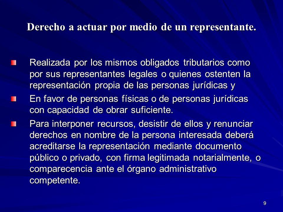 9 Derecho a actuar por medio de un representante. Realizada por los mismos obligados tributarios como por sus representantes legales o quienes ostente