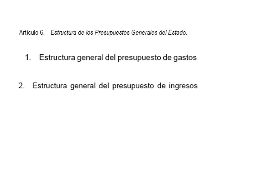 se estructura o clasifica según: 1º) FINALIDADES U OBJETIVOS (Funcional y por Programas) 2º) ORGANIZACIÓN del sector público administrativo estatal (Órganica) 3º) naturaleza ECONÓMICA de los gastos.
