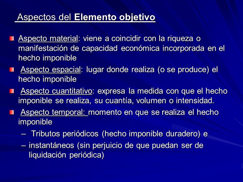 Aspectos del Elemento objetivo Aspectos del Elemento objetivo Aspecto material: viene a coincidir con la riqueza o manifestación de capacidad económic