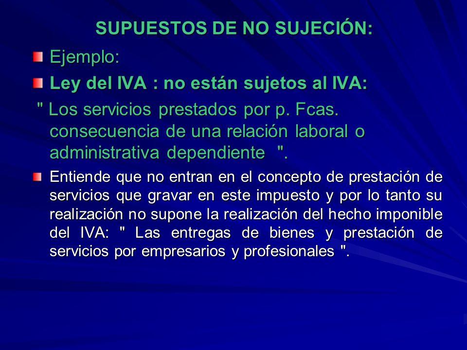 SUPUESTOS DE NO SUJECIÓN: Ejemplo: Ley del IVA : no están sujetos al IVA: