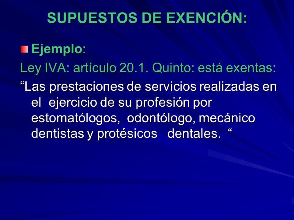 SUPUESTOS DE EXENCIÓN: Ejemplo: Ley IVA: artículo 20.1. Quinto: está exentas: Las prestaciones de servicios realizadas en el ejercicio de su profesión