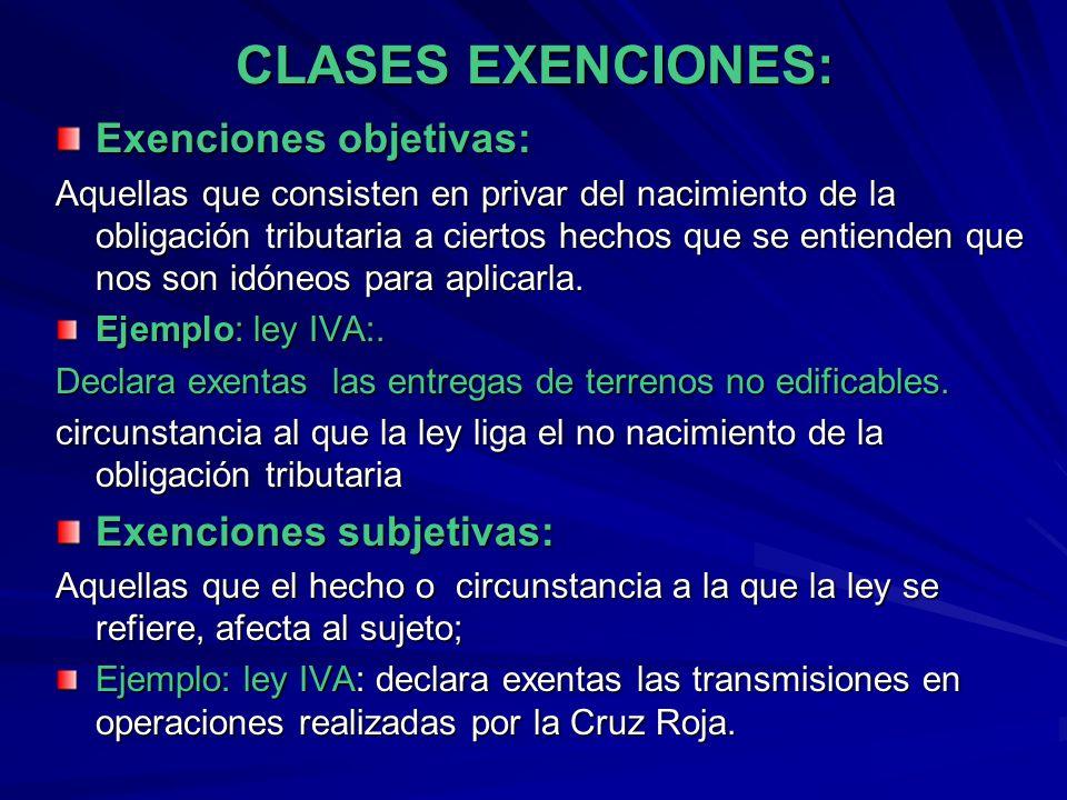 CLASES EXENCIONES: Exenciones objetivas: Aquellas que consisten en privar del nacimiento de la obligación tributaria a ciertos hechos que se entienden