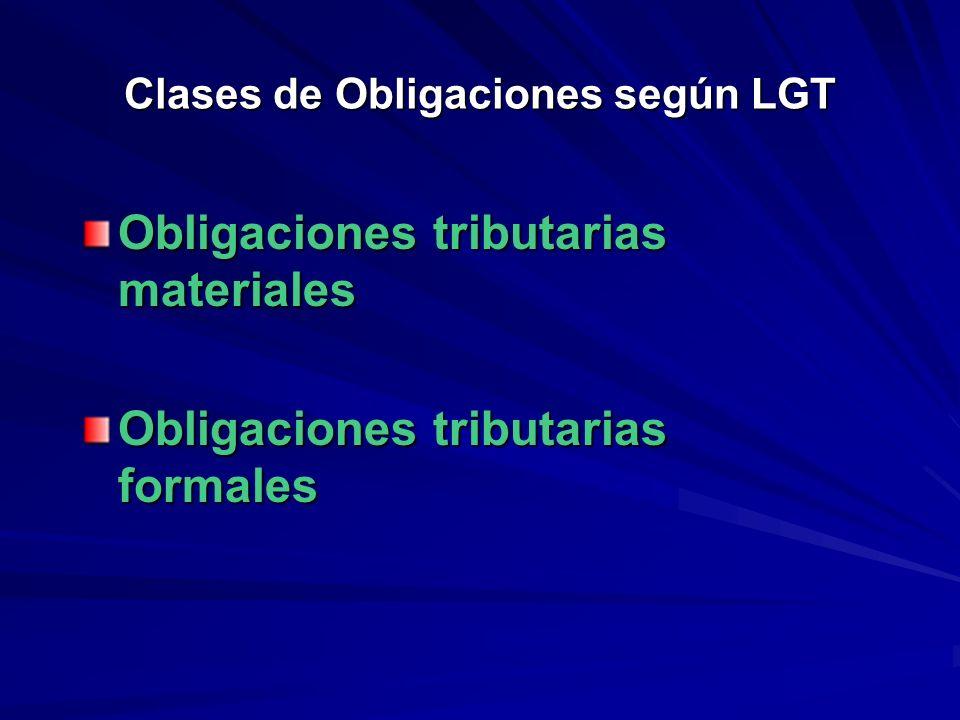 Clases de Obligaciones: A) OBLIGACIONES MATERIALES –A cargo del S.P.