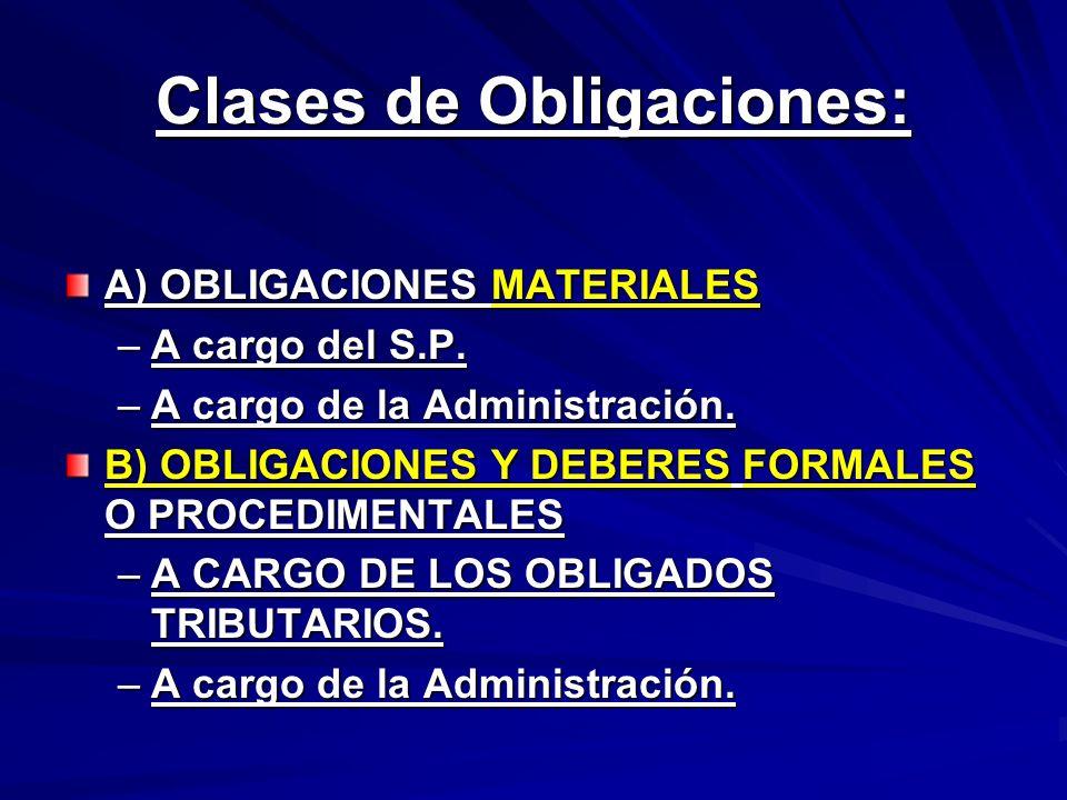 Clases de Obligaciones: A) OBLIGACIONES MATERIALES –A cargo del S.P. –A cargo de la Administración. B) OBLIGACIONES Y DEBERES FORMALES O PROCEDIMENTAL