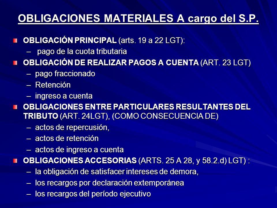 OBLIGACIONES MATERIALES A cargo del S.P. OBLIGACIÓN PRINCIPAL (arts. 19 a 22 LGT): – pago de la cuota tributaria OBLIGACIÓN DE REALIZAR PAGOS A CUENTA