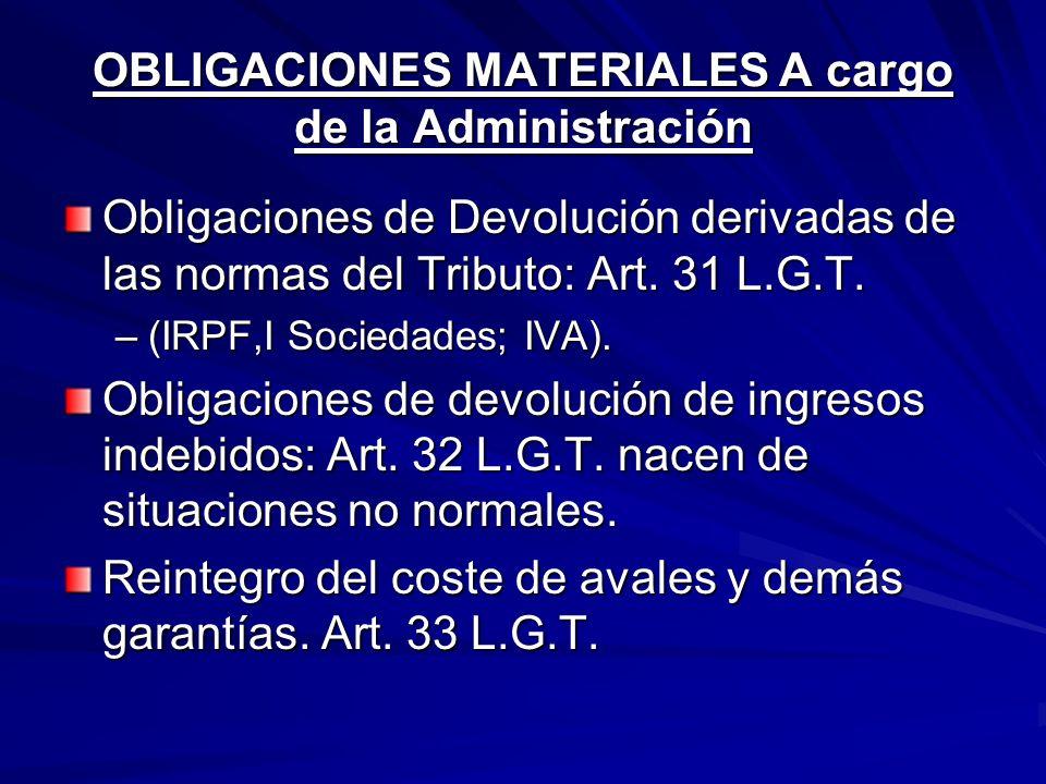 OBLIGACIONES MATERIALES A cargo de la Administración Obligaciones de Devolución derivadas de las normas del Tributo: Art. 31 L.G.T. –(IRPF,I Sociedade